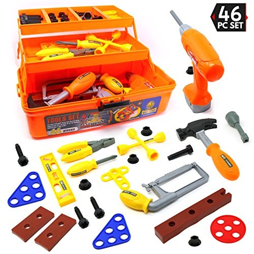 Big Mo's Toys Tool Box – Pretend Play Three Tier Educational Kit for Kids Gift of All Ages 46 Piece Set
