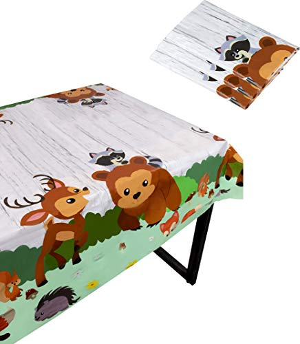 Blue Panda Woodland Animals Party Tablecloth – 3-Pack Disposable Plastic Rectangular Table Covers Themed Supplies Kids Birthday Baby Shower Decorations 54 x 108 Inches