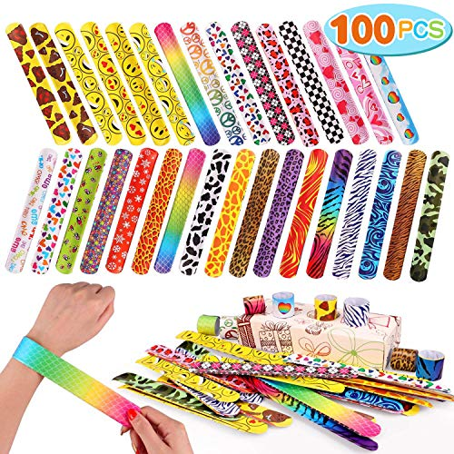 Toyssa 100 PCS Slap Bracelets Party Favors with Colorful Hearts Emoji Animal Print Design Retro Bands for Kids Adults Birthday Classroom Gifts 100PCS