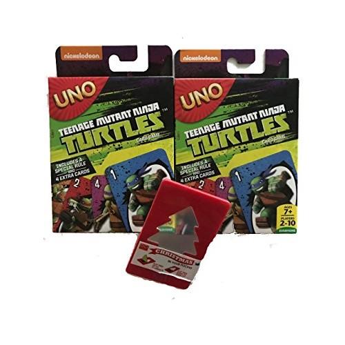 2 Pack UNO Teenage Mutant Ninja Turtles Edition with bonus Christmas in your Pocket Illuminated Tree