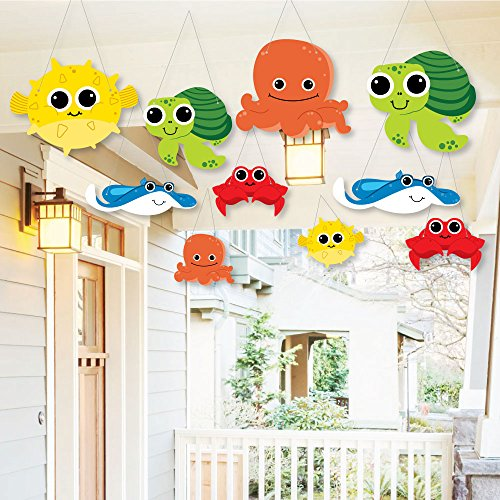 Big Dot of Happiness Hanging Under the Sea Critters – Outdoor Decor Baby Shower or Birthday Party Decorations 10 Pieces
