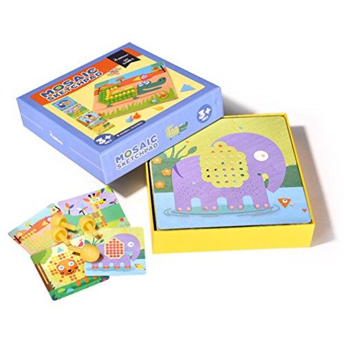 MiDeer Children Creative Mosaic Pegboard Educaltional Toy Mushroom Nails Jigsaw Puzzles Preschool Training