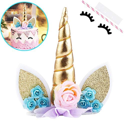 Unicorn Cake Topper with Eyelashes Party Decoration Supplies for Birthday Wedding Baby Shower 58 inch