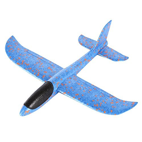 Foam Hand Launch Throwing Glider Airplane Developmental Intelligence Toy for Kids Puzzle Educational Learning Growing Experiment Gift Pretend Toddlers Blue One Size
