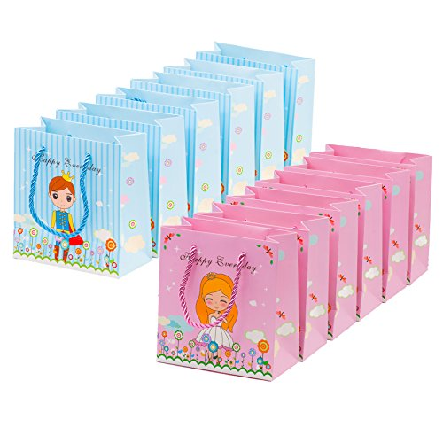 12 Pc Sweet Prince and Princess Gift Bags Party Favor Goodie