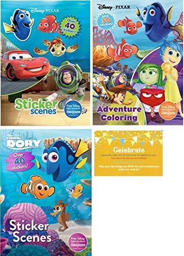Parragon Disney Pixar Coloring Experience Bundle 3 Books Finding Dory Sticker Scenes Adventure Jumbo Book Scenes and 1 Celebrate Poscard Size Card