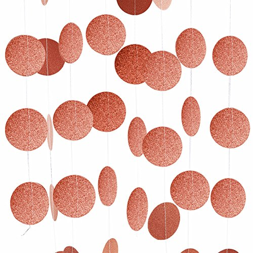 Threemart Rose Gold Party Supplies Glitter Grand Paper Dots Hanging for BacheloretteWedding Birthday Decoration-4 Pack Rose Gold