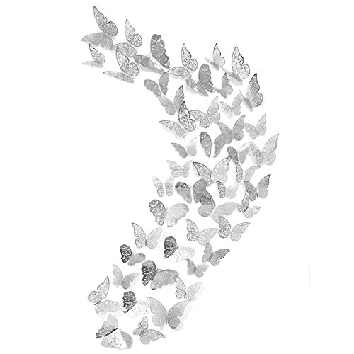48Pcs Butterfly Decorations Creatiee 3D Wall Decals Metallic Art Sticker DIY Handmade Removable Pressure Resistance Paper Murals Gift for Home Kids Girls Bedroom Nursey Party Dcor Silver Style