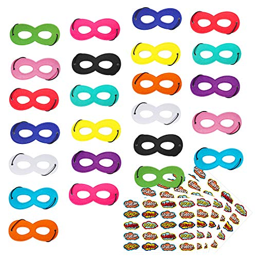 Superhero Masks Party Mask 24Pcs for Kids with 100 Stickers
