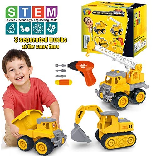 HAPISIMI Take Apart Construction Vehicle Set of 3 Dump Truck Crane Excavator with Electric Drill & Tools STEM Education Build Play Toy Best Gifts Idea Kids 3-6 Years-Old