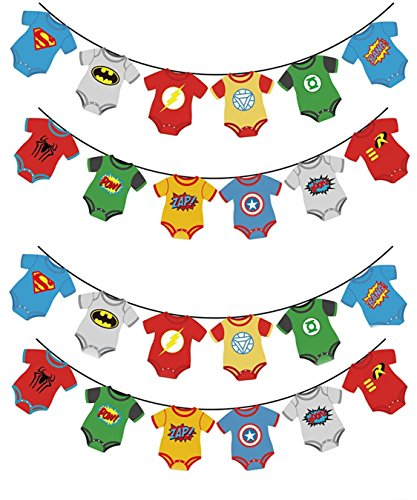 TWO Pack Superhero Baby Shower Bunting Banner Party Supplies- Marvel Avengers DC Comic Inspired Justice League Decoration For 1st Birthday