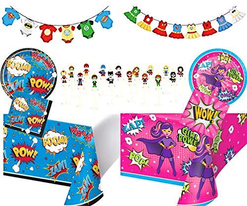Superhero Gender Reveal Party Supplies Kit- Decorations Banner