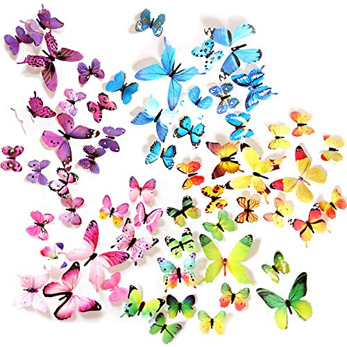 Ewong Butterfly Wall Decals – 60PCS 3D Butterflies Home Decor-Stickers Removable Mural Decoration for Girls Living Room Kids Bedroom Bathroom Baby Nursery Waterproof DIY Crafts Art 5 Color