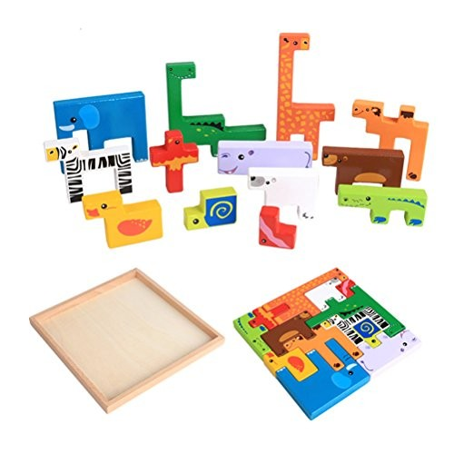 TOYMYTOY Wooden Zoo Animals Building Blocks Toys Nesting Jigsaw Puzzle Board for Kids