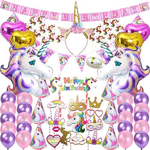 82 Pcs Unicorn Party Supplies Pack Decoration Birthday Gifts for Girls Kids Banner Pink Decor Purple Balloons String BONUS