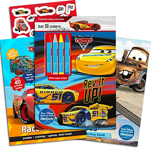 Disney Cars Coloring Book Super Set Kids Toddlers — 3 Deluxe Activity Books with Over 100 Stickers and Crayons Disney Collection