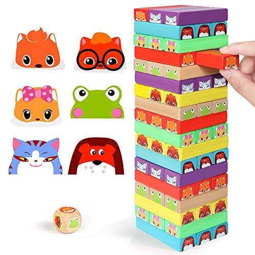 Lewo Colored Stacking Game Wooden Building BlocksTower Board Games for Kids Adults 54 Pieces Colorful Gane