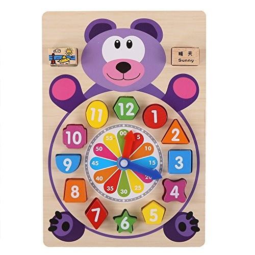 zhenyu Baby Toys Wooden Block Clock Building Blocks Education Montessori Table Game Kids Toy for Children Teaching Gifts B