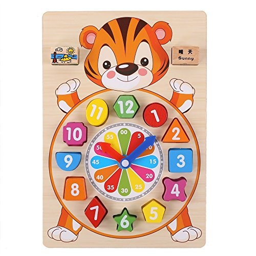 zhenyu Baby Toys Wooden Block Clock Building Blocks Education Montessori Table Game Kids Toy for Children Teaching Gifts A