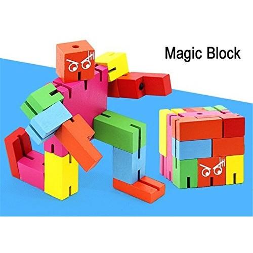 zhenyu Baby Wooden Toys Building Block Magic Blocks Robots Intelligence Brain Photo Holder Table Game