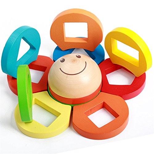 zhenyu Wooden Toys Building Blocks Shape Colorful Flower Block Children Montessori Develop Baby's Intelligence Early Education