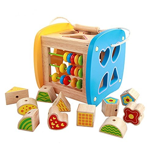zhenyu Models&Building Toy Wooden Geometric Multi Shape Sorter Block Baby Toys Early Educational for Kids Gifts
