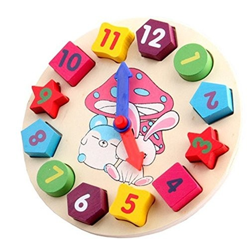 Gbell Wooden Digital Geometry ClockBuilding Blocks Educational Toy Birthday Gifts for Kids Toddler Baby Infant Multicolor