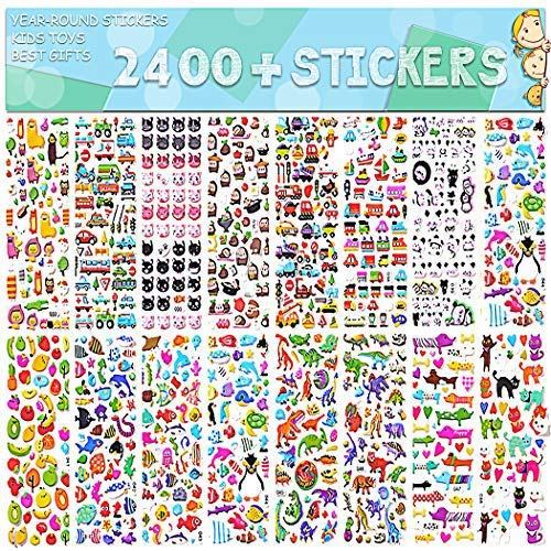 Stickers for Kids 2400+ 48 Sheets Motorcycle Bicycle Luggage DecalGraffiti Patches Multiple Style Incentive Teachers- No-Duplicate Sticker Pack