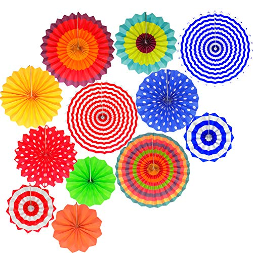 Fiesta Decorations Hanging Paper Fans- Colorful Mexican Party Supplies Photo Props for EventsWedding Birthday Carnival Baby Shower Set of 12