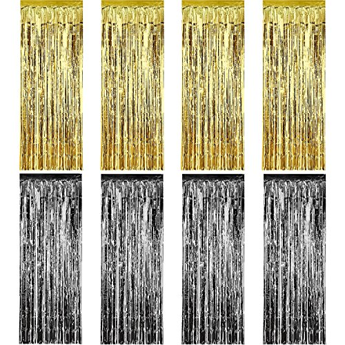 Sumind 8 Pack Foil Curtains Fringe Tinsel Backdrop Metallic for Birthday Wedding Party Photo Booth Decorations Gold and Black