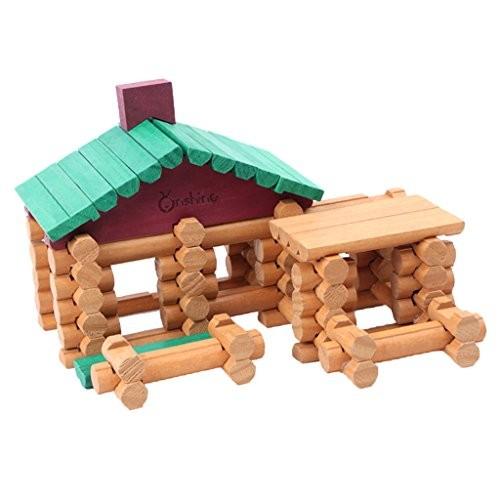 90Pcs Wooden Logs Classic Log Building Blocks Toys Cabin Set for Kids