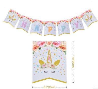 Happy Birthday Magic Unicorn Rainbow Banner Lovely Girl's Party Supplies Theme Decorative Props Gilding