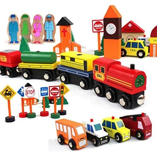 zhenyu Magnetic City Traffic Building Blocks Wooden Montessori Toys for Children Kids Educational Gift