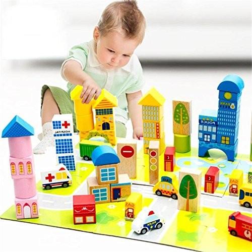zhenyu 62Pcs Lot Wooden Building Blocks Bricks Toy Cartoon Images City Traffic Scene Baby Kids Montessori Educational