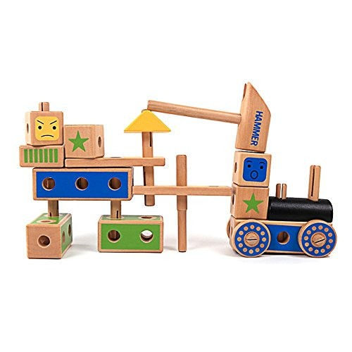 zhenyu Baby Wooden Screwing Blocks Toys Assembling Little Car Building Block Wood Hammer Tools Toy for Children Birthday Gift