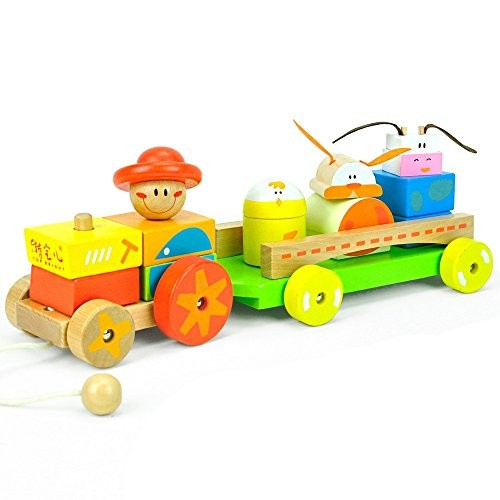 zhenyu Wooden Toy Wood Block Colorful Shape Cartoon Farm Tractor Building Car Garden Kid Birthday Present Gift 14pcs set