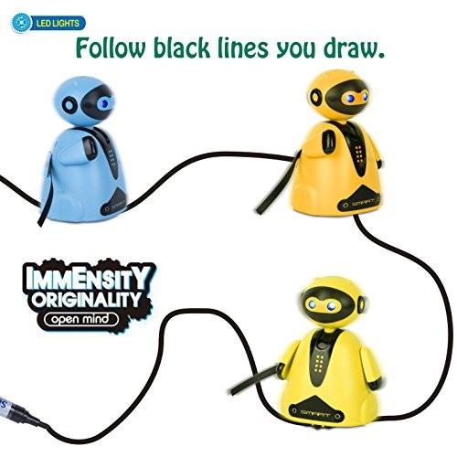 PintreeLand Mini Magic Inductive Robot Toy Follow Black Line with LED Light Educational Toys