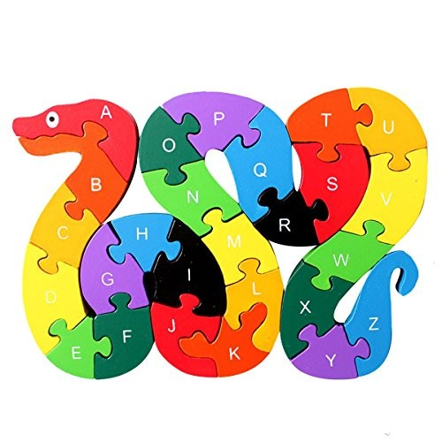 Queena Wooden Building Jigsaw Puzzle 26 English Alphanumeric Numbers Children Educational Blocks Toys Preschool Toy Snake