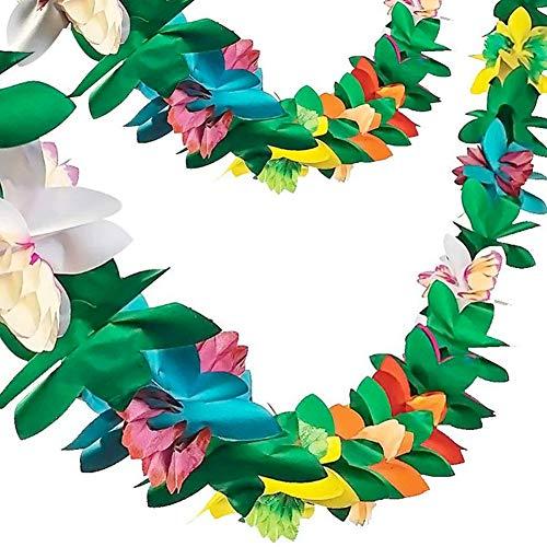 FUTUREPLUSx Paper Garland Decorations 2PCS Hibiscus Tissue Flower Banner Tropical Flowers Luau Party