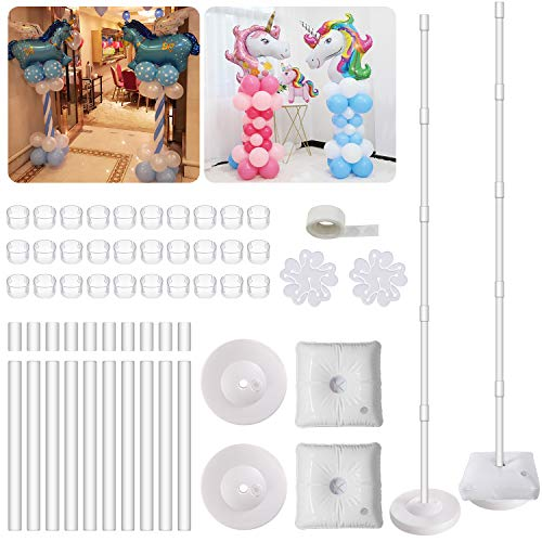2 Set Balloon Column Kit Base Stand and Pole 61 inch Height UPGRADED + 30Pcs Rings Tower Decoration for Birthday Party Wedding Event Decorations