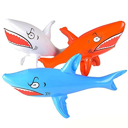 Kicko Inflatable Shark Kids Pool Toy – 3 Pieces Assorted Colors 24 Inch Animal Display Summer Beach Games Bath Time Party Decoration at Home Water Park Hotel