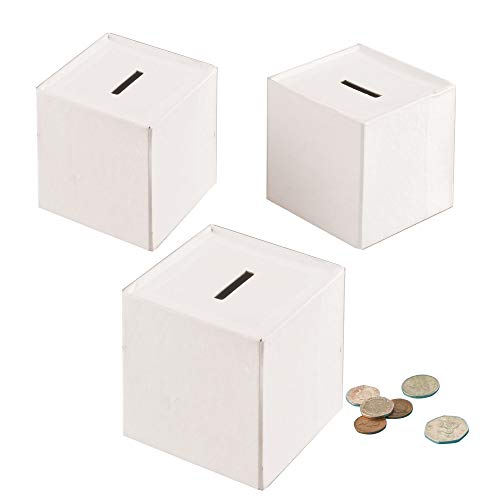 Baker Ross EV3024 Cube Money Boxes Paint & Decorate-Pack of 3 Assorted