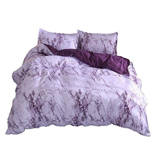 NTBED Marble Duvet Cover Sets Purple Queen Lightweight Bedding Printed Quilt with Zipper Closure