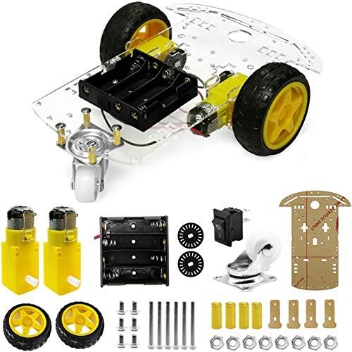 The perseids DIY Robot Smart Car Chassis Kit with Speed Encoder Wheels and Battery Box 2 Wheels