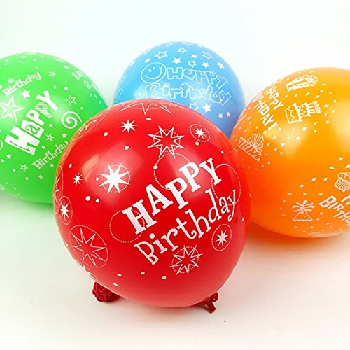 50pcs 12inch Latex Balloons for Happy Birthday Party Beautiful Flowers Printed Balloon Decoration Multicolor Birthday