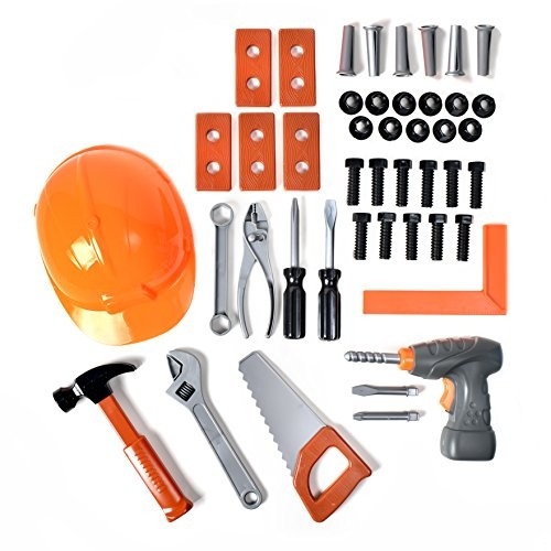 Maxx Action 45 Super Power Tool Set Construction Playset with Drill and Tools Pretend Play Toy For Kids