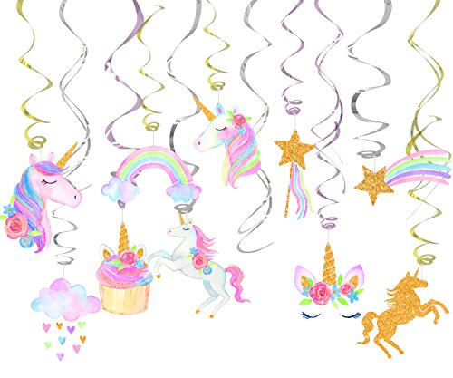klmars 30 Ct Unicorn Hanging Swirl Decorations-Unicorn Party Birthday Supplies