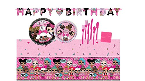 LOL Surprise Doll Birthday Party Supplies Bundle Set for 16 Guests – Plates Tablecover Banner Cutlery Napkins
