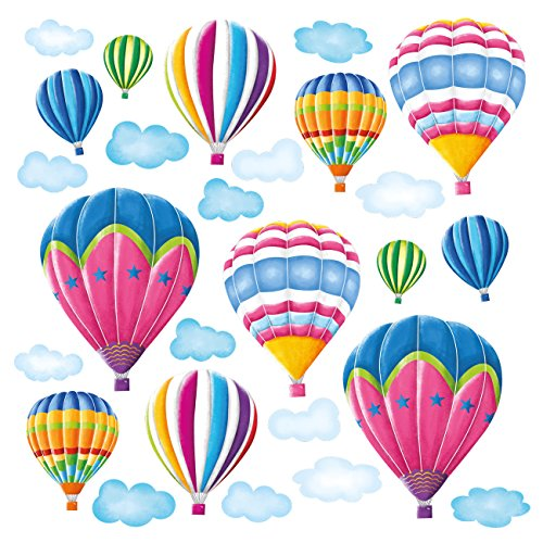DECOWALL DW-1301AC-2 12 Hot Air Balloons in The Sky Kids Wall Stickers Decals Peel and Stick Removable for Nursery Bedroom Living Room