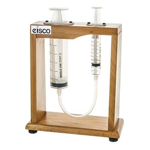 Pascal's Demonstrator – Hyradulic Press 75 Height Sturdy Wood Frame 50ml Large Piston 10ml Small Eisco Labs